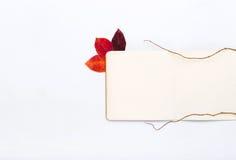 Abra la libreta con las hojas de otoño en un fondo blanco Fotografía de archivo libre de regalías