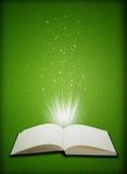 Abra la magia del libro en fondo de la hierba verde Fotos de archivo