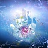 Abra la mano y la partícula ilustración del vector