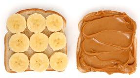 Abra la mantequilla de cacahuete y el emparedado del plátano fotografía de archivo libre de regalías