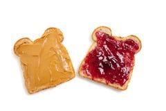 Abra la mantequilla de cacahuete y el emparedado hechos frente de la jalea Imagen de archivo libre de regalías