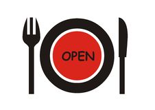 Abra la muestra del restaurante Fotos de archivo