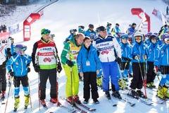 Abra la nueva estación 2015-2016 del esquí en Bansko, Bulgaria Marc Girardelli, Markus Wasmeier, Petar Popangelov Imagenes de archivo