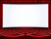Abra la pantalla de cine en el ejemplo del teatro 3d del cine foto de archivo libre de regalías