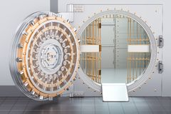 Abra la puerta de la cámara acorazada de banco, 3D Imágenes de archivo libres de regalías