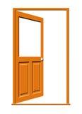 Abra la puerta de madera con la ventana en blanco Imagen de archivo libre de regalías