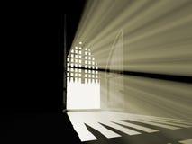 Abra la puerta del paraíso de la oscuridad. Fotografía de archivo