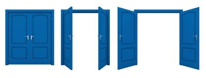 Abra la puerta doble azul aislada en un fondo blanco Foto de archivo