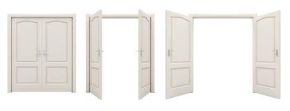 Abra la puerta doble blanca aislada en un fondo blanco Fotografía de archivo