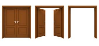 Abra la puerta doble de madera aislada en un fondo blanco Foto de archivo libre de regalías