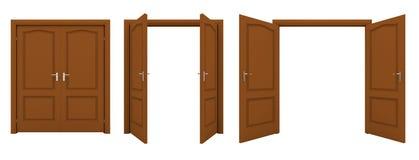 Abra la puerta doble marrón aislada en un fondo blanco Fotos de archivo