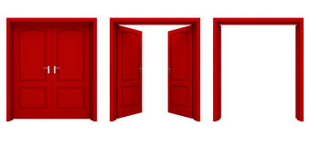 Abra la puerta doble roja aislada en un fondo blanco Imagenes de archivo