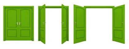 Abra la puerta doble verde aislada en un fondo blanco Fotografía de archivo libre de regalías