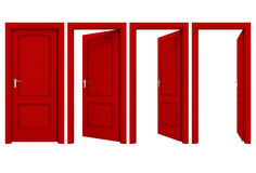 Abra la puerta roja aislada en un fondo blanco Imagenes de archivo