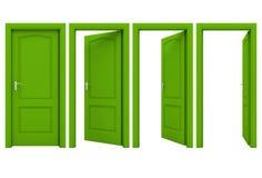 Abra la puerta verde en un fondo blanco Foto de archivo libre de regalías