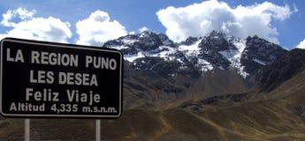 Abra La Raya,高度4,335 m,普诺大区,秘鲁 免版税库存照片