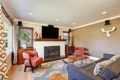 Abra la sala de estar del concepto en casa americana del estilo del artesano Fotografía de archivo libre de regalías