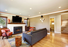 Abra la sala de estar del concepto en casa americana del estilo del artesano Imagen de archivo libre de regalías