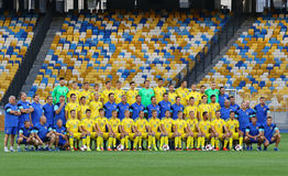 Abra a la sesión de formación del equipo de fútbol del nacional de Ucrania Imagen de archivo libre de regalías