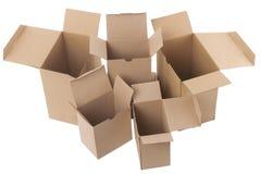 Abra las cajas de cartón marrones fotografía de archivo libre de regalías