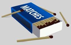 Abra las cajas de cerillos Caja de cerillas y partido del vector icono LOGOTIPO Aislado en fondo gris Azul marino ilustración del vector
