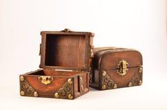 Abra las cajas de madera Fotos de archivo