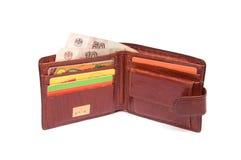 Abra las carpetas con las tarjetas y el dinero del descuento Imágenes de archivo libres de regalías