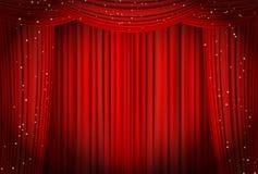 Abra las cortinas rojas con ópera del brillo o el fondo del teatro Imagen de archivo