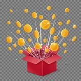 Abra las monedas de la explosión y del vuelo del haz luminoso de la caja de la sorpresa Imagenes de archivo