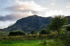 Abra las montañas en el campo Galés Imagen de archivo