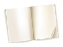 Abra las páginas amarillentas de la revista en blanco en blanco ilustración del vector