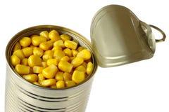 Abra a lata de estanho do milho Foto de Stock Royalty Free