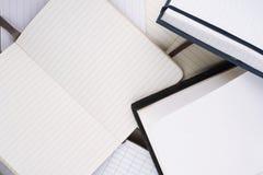 Abra los cuadernos con white pages Imágenes de archivo libres de regalías
