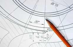 Abra los dibujos con un lápiz El dirigir y diseño Fotografía de archivo