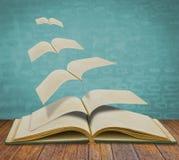 Abra los libros viejos del vuelo. Foto de archivo libre de regalías