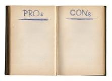 Abra los pros vacíos - y - contra reservan Imágenes de archivo libres de regalías
