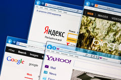 Abra los sitios de SEO Yandex, Google, Bing, Yahoo fotos de archivo libres de regalías