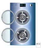 Abra a máquina de aço azul de Front Load Double Washing isolada no wh Imagem de Stock