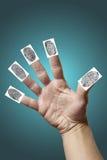 Abra a mão com impressões digitais Imagens de Stock Royalty Free