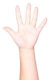 Abra a mão da mulher no fundo branco Fotografia de Stock Royalty Free
