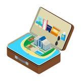 Abra a mala de viagem Imagem de Stock
