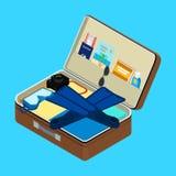 Abra a mala de viagem com coisas Imagens de Stock