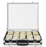 Abra a mala de viagem com os dólares isolados no branco Fotos de Stock