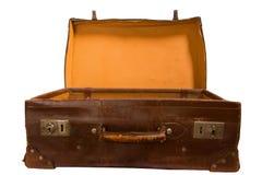 Abra a mala de viagem de couro Fotos de Stock Royalty Free
