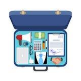 Abra a mala de viagem de um homem de negócios, ilustração do vetor Fotografia de Stock