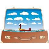 Abra a mala de viagem (o vetor) ilustração stock