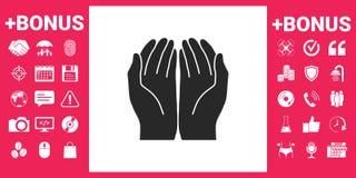abra o ícone das mãos ilustração stock