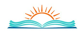 Abra o ícone do logotipo da educação do livro e do sol ilustração do vetor