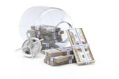 Abra o banco com dinheiro Imagem de Stock Royalty Free