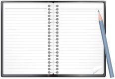 Abra o bloco de notas com lápis Fotos de Stock Royalty Free